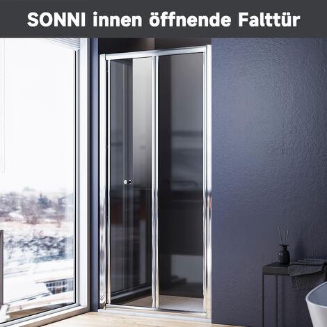 SONNI Falttür Duschkabine Duschtür Duschwand faltbar 80x185cm