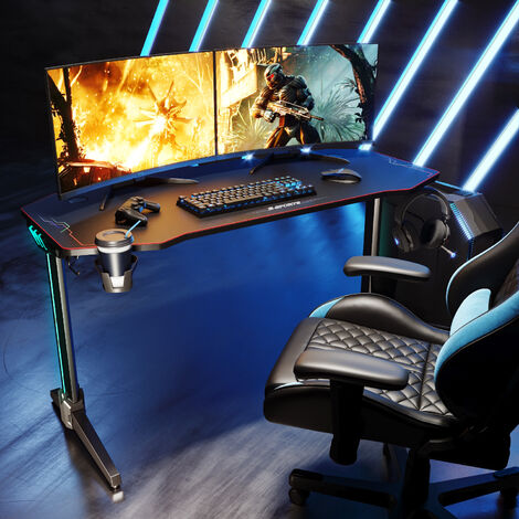 SONNI Gaming Tisch Computertisch ergonomisch, Gaming Desk mit Mauspad, 2 Haken, Getraenkehalter und Kopfhoererhalter,Carbon Optik Schwarz 140cm