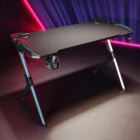 SONNI Gaming Tisch mit LED RGB Beleuchtung,computertisch schwarz,mit Getränkehalter und Kopfhörerhalter,Carbon Optik 120cm