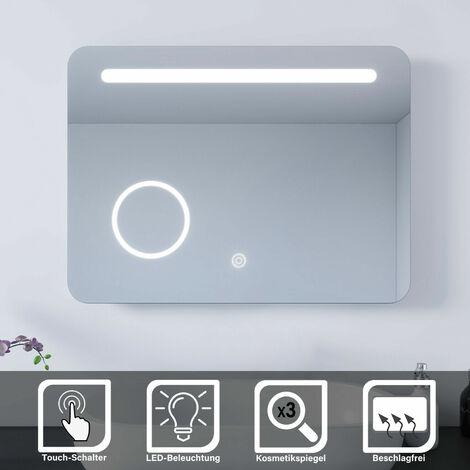 SONNI LED Bad Spiegel Wandspiegel Badspiegel Beleuchtung mit Kosmetikspiegel 80x60cm