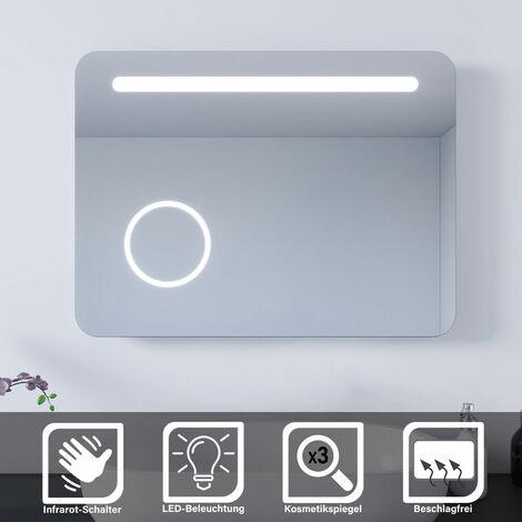 SONNI LED Badspiegel 80x60 Bad Wandspiegel Badezimmerspiegel Kosmetikspiegel Sensor