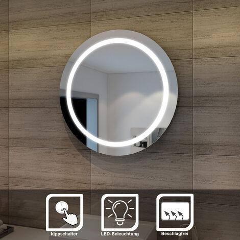 SONNI LED Badspiegel wandspiegel rund 84cm Lichtspiegel Bad Spiegel LED Beleuchtung, kaltweiß