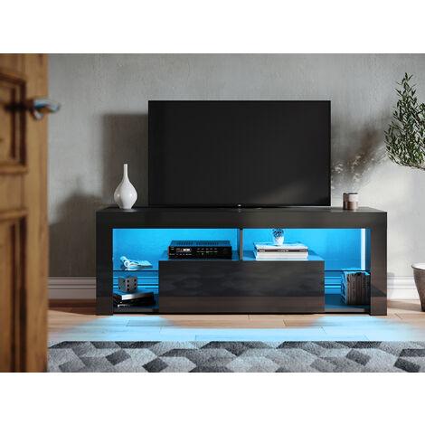 """main image of """"SONNI Lowboard Schwarz TV Board Led Beleuchtung(12 Farben können eingestellt Werden)TV Schrank,mit Klapptür,mit Glasregal,Griffloses Design,140x35x50.5cm"""""""