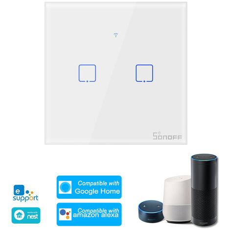 SONOFF, 2 interruptor de la cuadrilla de Smart Wi-Fi de pared de luz, control remoto de RF 433Mhz