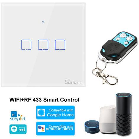 SONOFF, 3 Interruptor de la cuadrilla de Smart Wi-Fi de pared de luz, 433Mhz