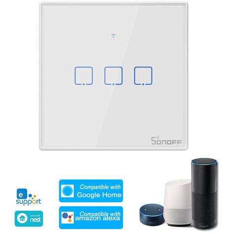 SONOFF, 3 Interruptor de la cuadrilla de Smart Wi-Fi de pared de luz, control remoto de RF 433Mhz