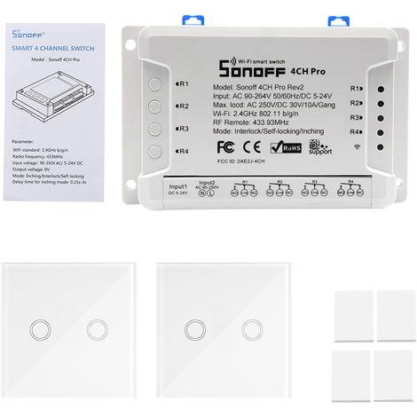 SONOFF, 433MHz 4 Gang WiFI Switch, 3 modos de trabajo