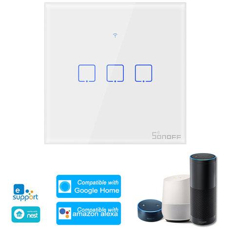 SONOFF, Interruptor de luz de pared WiFi inteligente de 3 pandillas, control remoto RF de 433Mhz