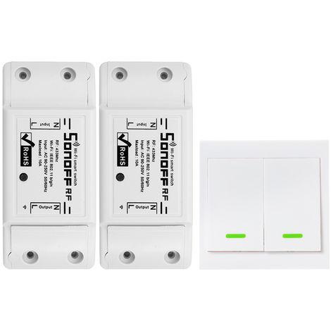 SONOFF, Interruptor RF Wifi,RF 433MHz,10A/2200W,2PCS