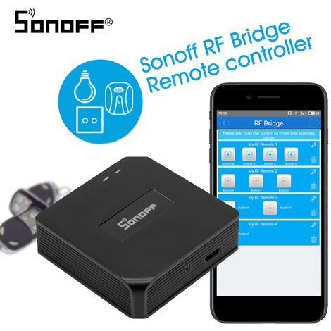 Sonoff Rf Pont 433Mhz Wifi Sans Fil Intelligent Automatisation Telecommande Rf Wi-Fi Module Commutateur Pour Smart Home Securite Compatible Avec Alexa Accueil Google, Noir
