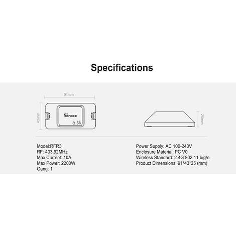 Sonoff Rfr3 Wifi Diy Smart Switch 433Mhz Rf Chronocommande Lumiere Controleur App Telecommande Sans Fil Accueil Module Compatible Avec Alexa Accueil Google Kits D'Automatisation, Blanc, 1Pc