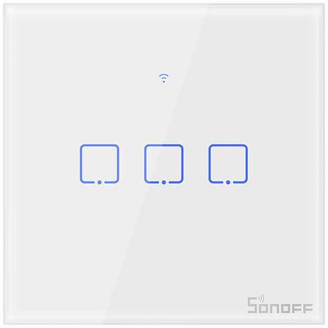 SONOFF T2, Interruptor de pared WIFI inteligente, CA 100-240 V, 3 pandillas