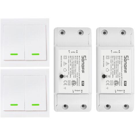 SONOFF,Interruptor 2PCS RF Wifi,con panel de interruptor 2PCS 2 Gang 86 Tipo ON/Off