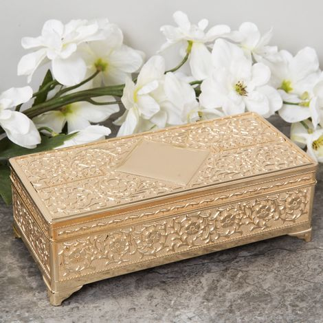 Sophia Gold Plated Look Large Oblong Trinket Box