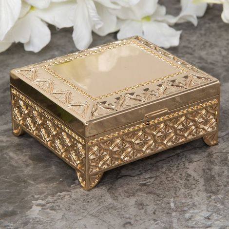 Sophia Gold Plated Look Oblong Trinket Box