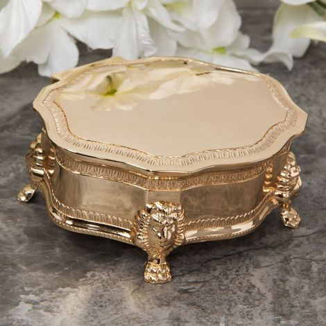 Sophia Gold Plated Look Oval Trinket Box with Lion Feet