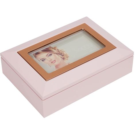 Sophia Jewellery Box with Photo Frame - Pink