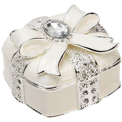 Sophia Silverplated & Epoxy Square Trinket Box Bow & Crystal
