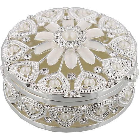 Sophia Silverplated & Pearl Flower Des Round Trinket Box