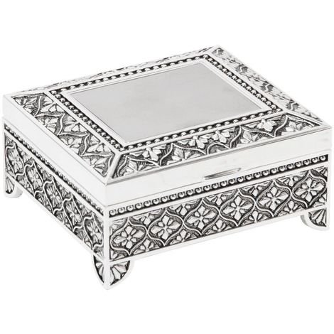 Sophia Silverplated Square Trinket Box with Feet - Art Deco
