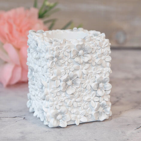 SOPHIA White Floral Resin Tealight Candle Holder