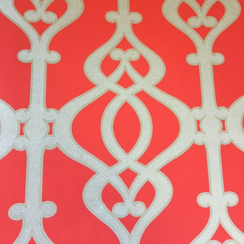 Sophie Conran Glitter Teal Wallpaper Balustrade Jewel Silver Textured Luxury