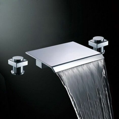 Sophisticated basin mixer tap with waterfall spout in solid brass and polished chrome