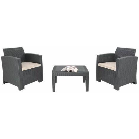 Sophon Outdoor Garden Grey Armchair And Table Wicker Set