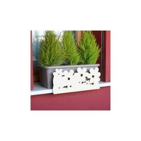 Soporte anticaida de jardineras y macetas - Flores blanco