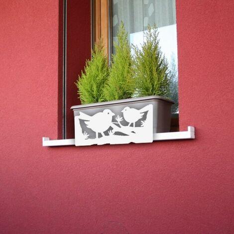Soporte Anticaida De Jardineras Y Macetas -pájaros Blanco