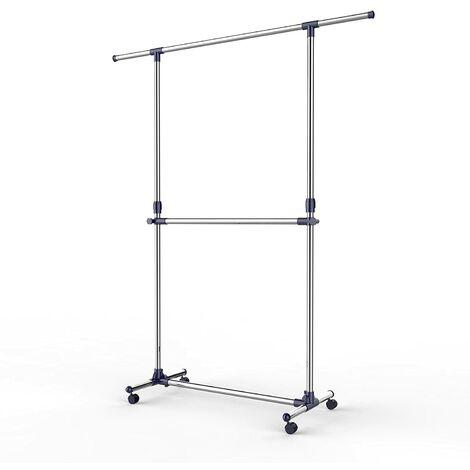 Soporte con barra ajustable para colgar prendas y accesorios con barra en el medio modelo LLR41L - Tubos con revestimiento de acero inoxidable LLR41L