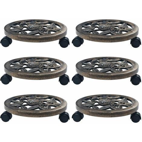 Soporte con ruedas de plantas 6 uds plastico color bronce 30 cm