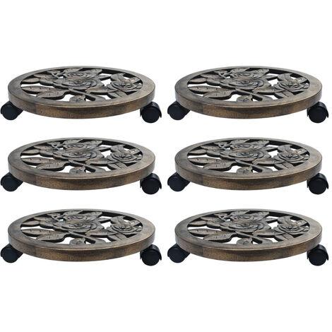 Soporte con ruedas de plantas 6 uds plastico color bronce 38 cm