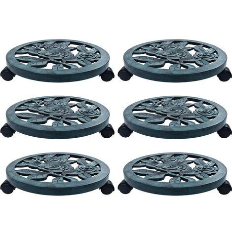Soporte con ruedas para plantas 6 unidades plástico verde 38 cm - Verde