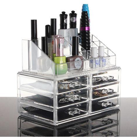 Soporte cosmético acrílico Organizador de maquillaje Caja de 4 cajones Joyería Almacenamiento transparente Sasicare