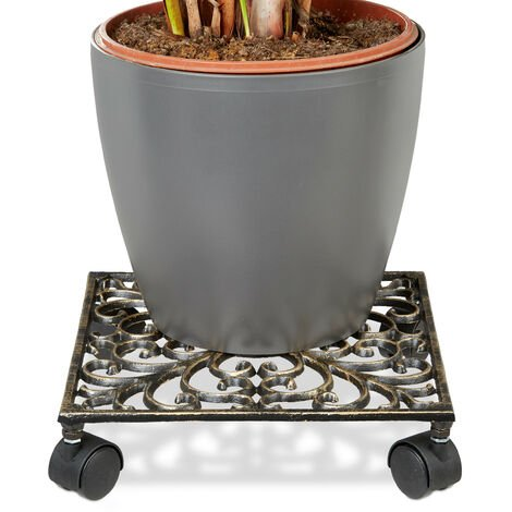 – Soporte cuadrado con ruedas para plantas hecho de hierro fundido resistente a la intemperie con medidas 7,5 x 27,5 x 27,5 cm y peso 1,6 Kg, color bronce