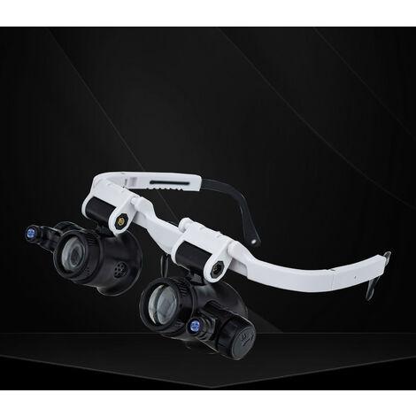 Soporte de cabeza de gafas de lupa, con luz LED, para procesamiento mecanico de evaluacion de joyas