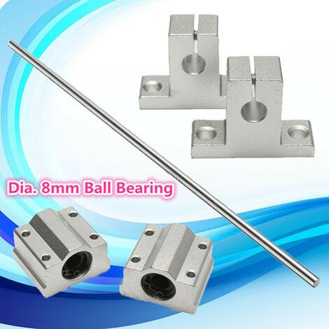 Soporte de eje de riel lineal de cilindro de varilla de plomo de 8 mm y 40 cm con bloque deslizante lineal 2X
