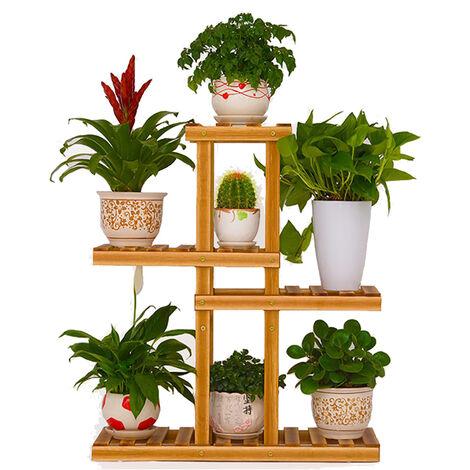 Soporte de flores de madera de 4 capas, soporte de exhibición de plantas, estante de almacenamiento, jardín Hom (con ruedas)