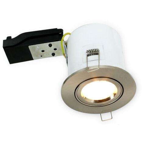 Soporte de foco ajustable BBC Brushed Steel RT2012 + portalámparas automático GU10
