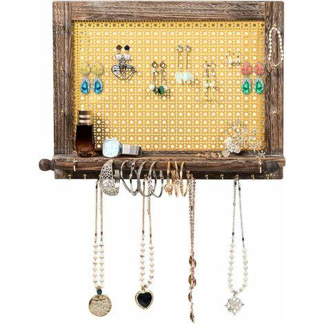 Soporte de Joyas de Pared Organizador Joyero Rústico con Barra para Pulseras Estante de Madera para Pendientes Collares Pulseras (L)