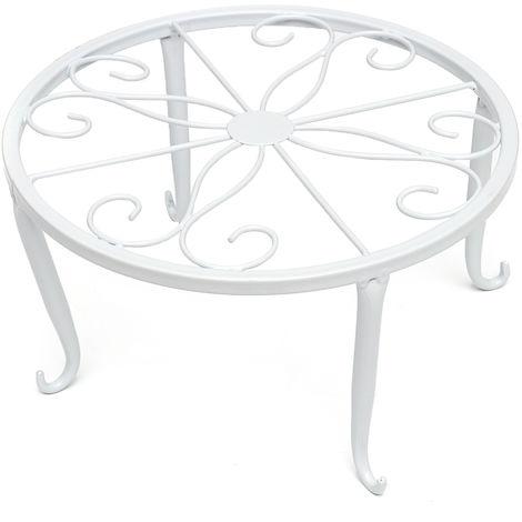 Soporte de metal moderno de 24 cm para maceta deco mesa de jardín blanco Hasaki