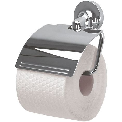 """Soporte de papel higienico con cubierta Spirella """"Lagune"""" de metal cromado en color gris 14,5 cm"""