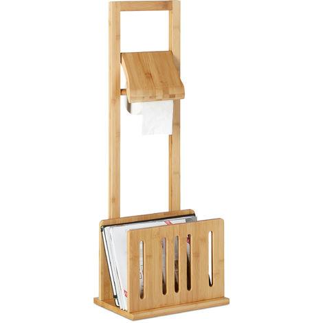 Soporte de papel higiénico con sitio para periódicos, bambú, conjunto de pie, revistero, 81,5 x 30,5 x 21 cm, natural