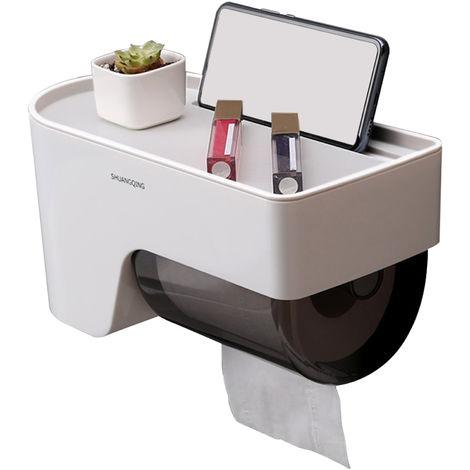 Soporte de papel higienico para bano, con repisa, multicolor