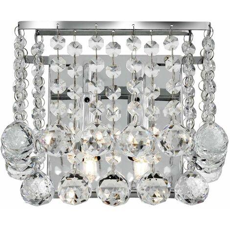 Soporte de pared cromado cuadrado de 2 llamas Hanna, bola de cristal transparente cromada