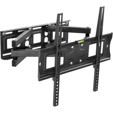 Soporte de pared para monitores de 26-55″ (66-138cm) inclinable y orientable nivel de aire - soporte para pantalla VESA, base para monitor plano de televisión de acero, soporte para monitores de ordenador - negro