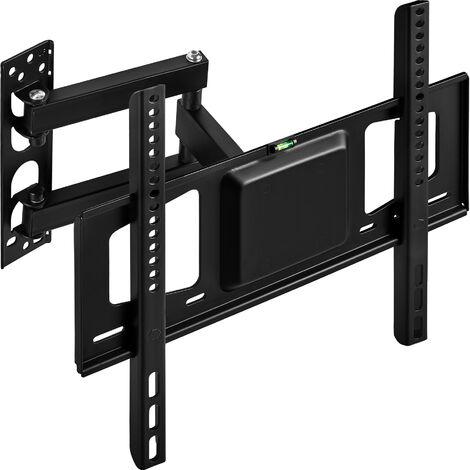 Soporte de pared para monitores de 26-55″ (66-140cm) inclinable y orientable - soporte para pantalla VESA, base para monitor plano de televisión de acero, soporte para monitores de ordenador - negro