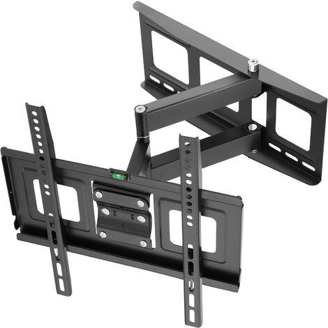 """Soporte de pared para pantallas de 32-55"""" (81-140cm) inclinable y orientable nivel de aire - soporte para pantalla VESA, base para monitor plano de televisión de acero, soporte para monitores de ordenador - negro"""
