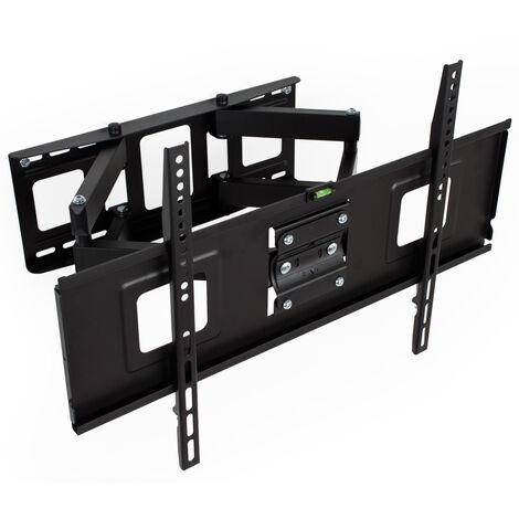 Soporte de pared para pantallas de 32-65″ (81-165cm) inclinable y orientable con nivel de burbuja - soporte para pantalla VESA, base para monitor plano de televisión de acero, soporte para monitores de ordenador - negro